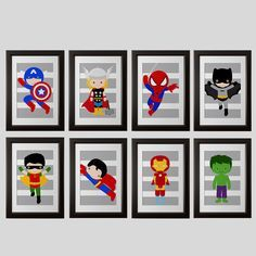 PICK 4 PRINTS Super hero wall art boys room by AmysSimpleDesigns, $38.00. Or these. They are not framed but you could get cheap frames from ikea.