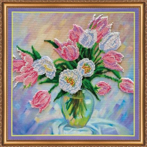 Tulips Flowers Bead Embroidery kit Beadwork Beaded Embroidery Kit DIY