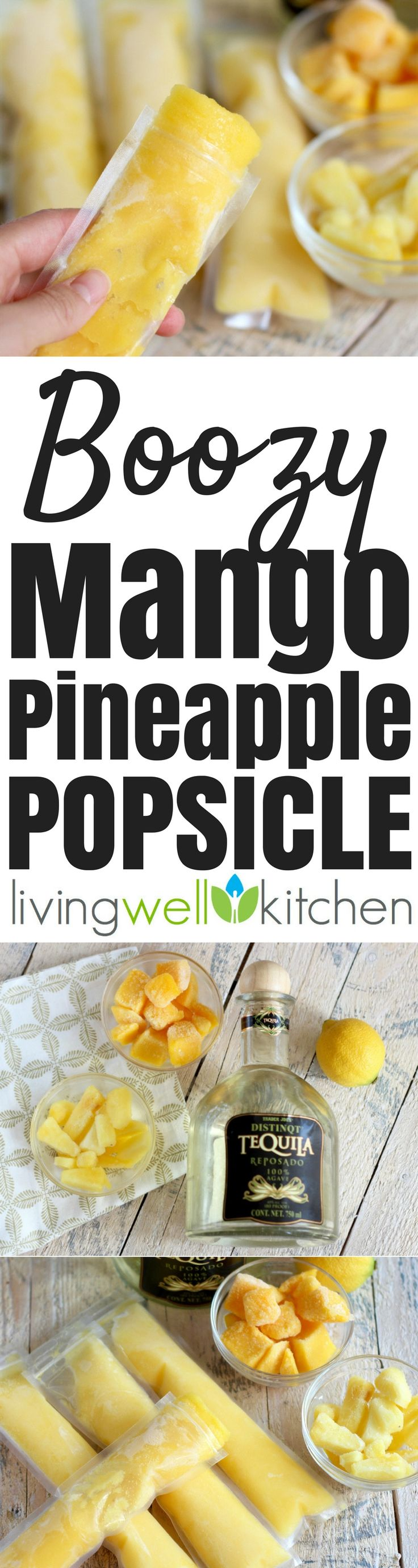 These Boozy Mango Pineapple Popsicles from @memeinge have only 4 ingredients and are great for a make ahead frozen summer treat! No added sugar, gluten free, dairy free, vegetarian, vegan dessert recipe with a non alcoholic/mocktail option