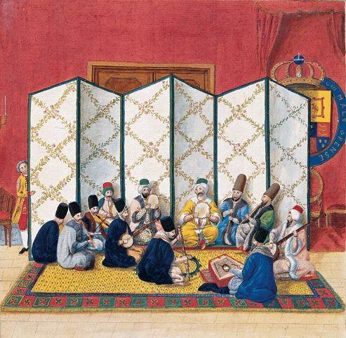 İstanbul'da 22 Şubat 1779'da İngiliz Sarayı'nda verilmiş olan konser. Müzisyenlerin giysilerinden Müslüman mı, gayrimüslim mi oldukları  anlaşılıyor. Neylerin ikisini mevlevîler üflüyor; bunlardan daha uzakta oturan üçüncü neyzen ise gayrimüslim. İki yaylı çalgının, Batı kemanıyla  kemançenin aynı toplulukta bulunması ilgi çekici. Bir Rum ya da Ermeni tarafından çalınan Batı kemanının Osmanlı müzik topluluğu içindeki bilinen  ilk resmi bu.