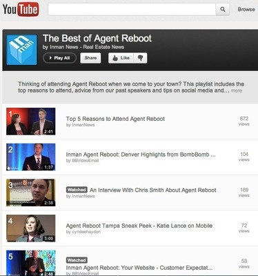 YouTube Playlist: The Best of Agent Reboot| Inman News Agent Reboot