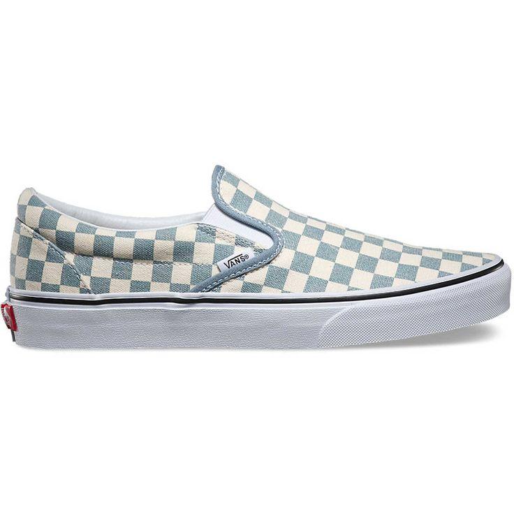vans slip on checkerboard blue