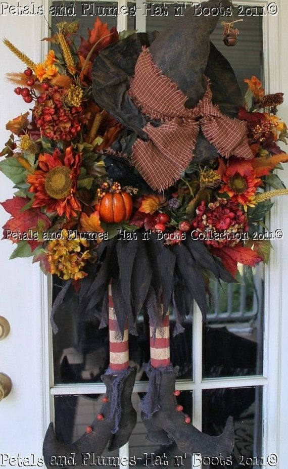 Primitive Wich Hat/Boots n Matching Crow - Etsey wins again! Petals and Plumes - Beautiful.