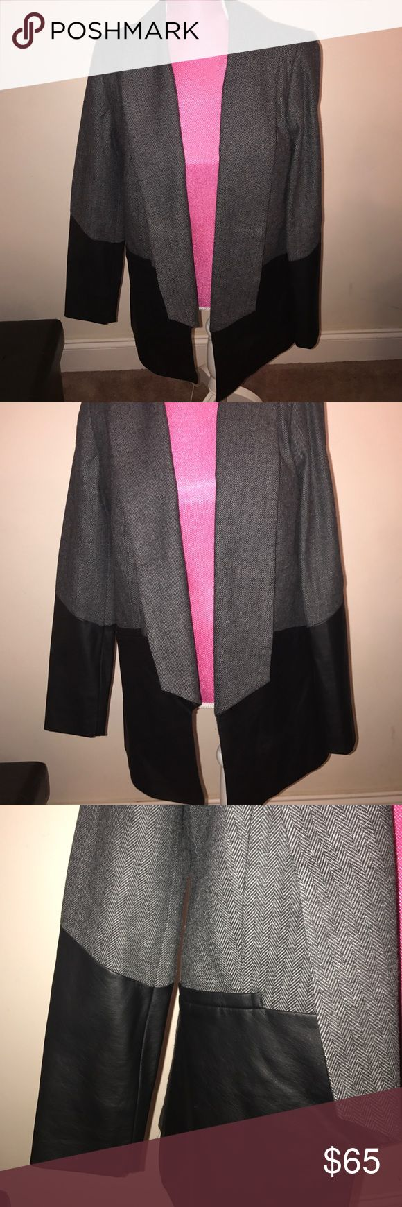 Grey Tweed blazer with black faux leather detail This blazer is so hot. It's so rich looking and the tweed mixed with the leather is so nice looking. george kotsiopoulos Jackets & Coats Blazers
