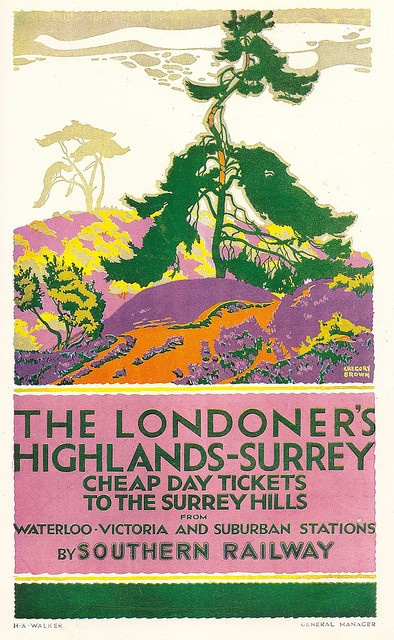 nice colors // The Londoner's Highlands - Surrey - Southern Railway of England - poster by Gregory Brown, c1930
