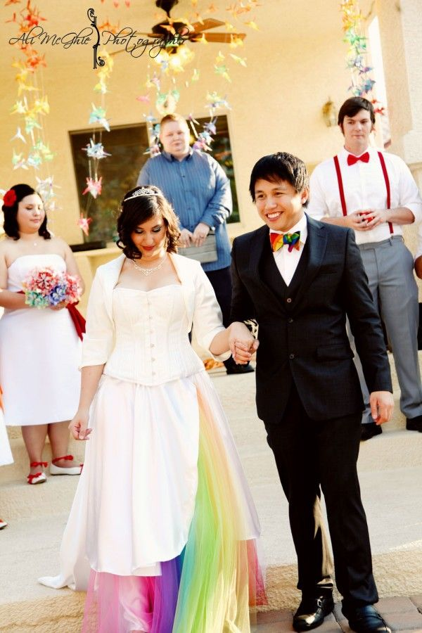 Handmade Backyard Rainbow Wedding Full Of Love The Petticoat Rainbowd Out