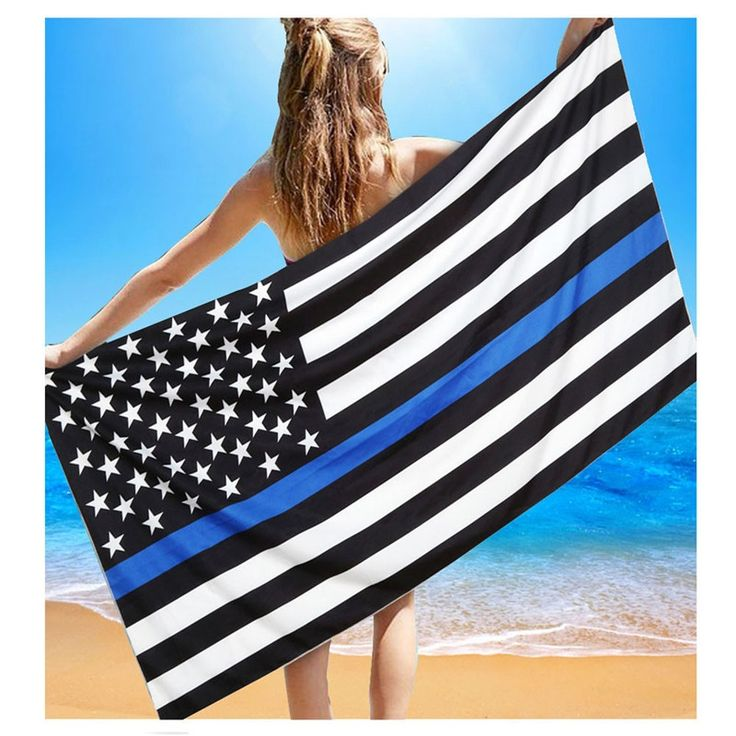 This Is a Great Fathers Day Gift, Order Now To Receive Gift In Time For Fathers Day !! American Thin Blue Line Flag Beach Towel Shower Blanket