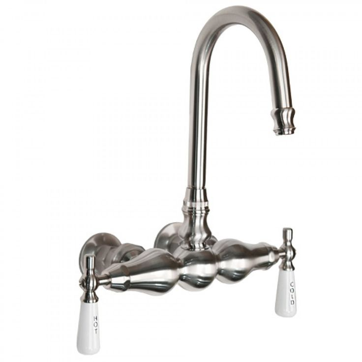 Three Ball Wall Mount Faucet with Gooseneck Spout - Tub Faucets - Bathroom
