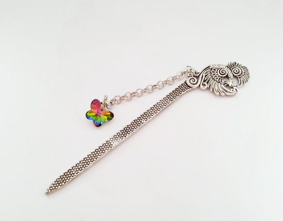 Silver peacock metal bookmark with glass by MKedraHandmade on Etsy