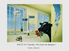 If it's Tuesday, this must be Belgium! Een surrealistisch airbrush werk. Uniek exemplaar.