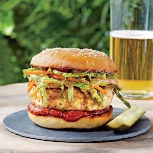 Carolina Chicken Burgers with Ancho Slaw   MyRecipes.com