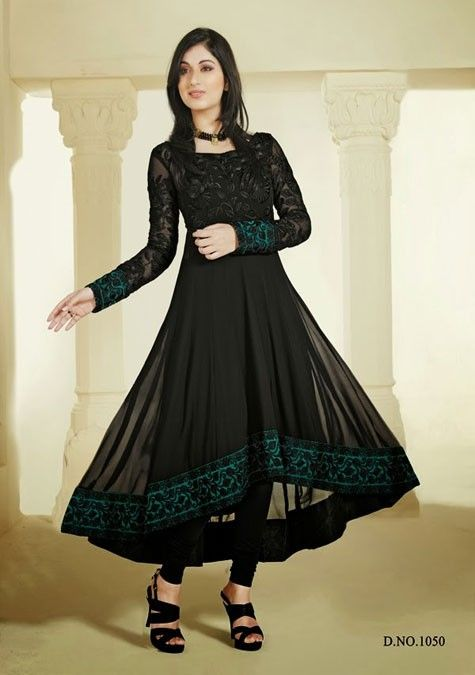 Black Designer Long Length Anarkali Salwar Kameez