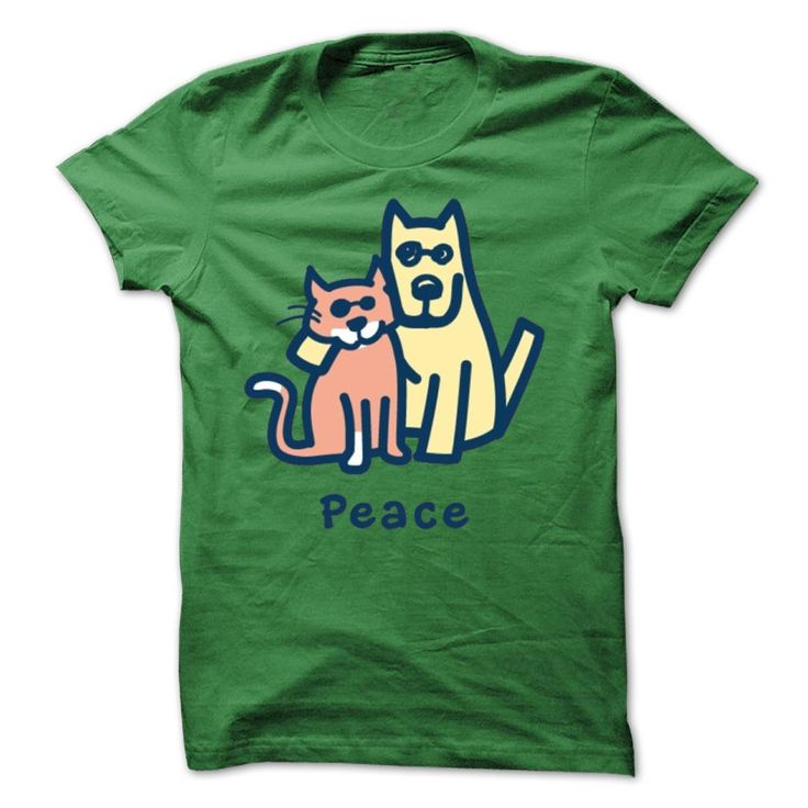 CAT AND DOG PEACE. Funny, Cute, Clever Dog and Puppy Quotes, Sayings, T-Shirts, Hoodies, Tees, Coffee Mugs, Clothes, Gifts. #dogs