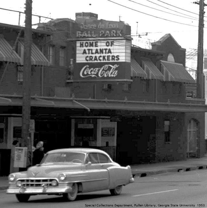 Entrance to Ponce de Leon Ball Park, Atlanta, Georgia, home of the Atlanta Crackers, the baseball team before the Braves.