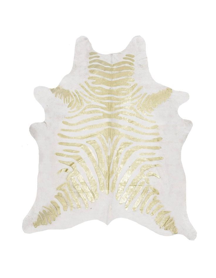 Zebra Gold on Off White Metallic Cowhide Rug