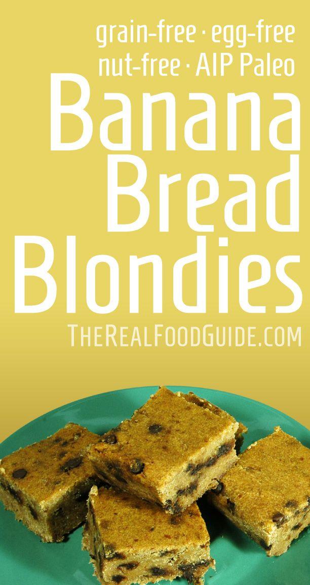 Paleo & vegan banana bread blondies - grain-free, egg-free & nut-free - The Real Food Guide therealfoodguide.com