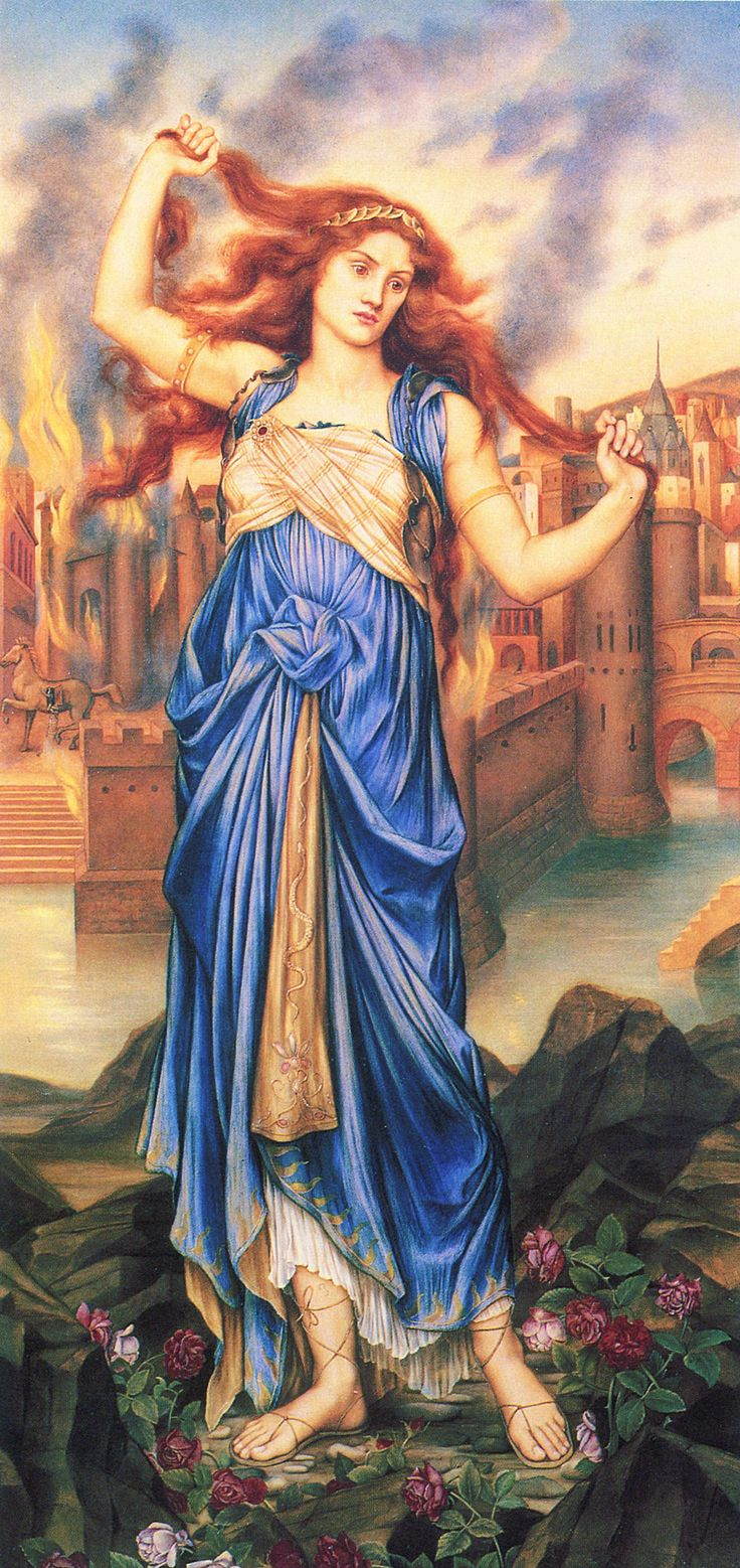 A depiction of Cassandra, mythological prophetess from Troy, daughter of King Priam and Queen Hecuba, painted by Evelyn De Morgan, ca. 1898. (Wikimedia Commons)