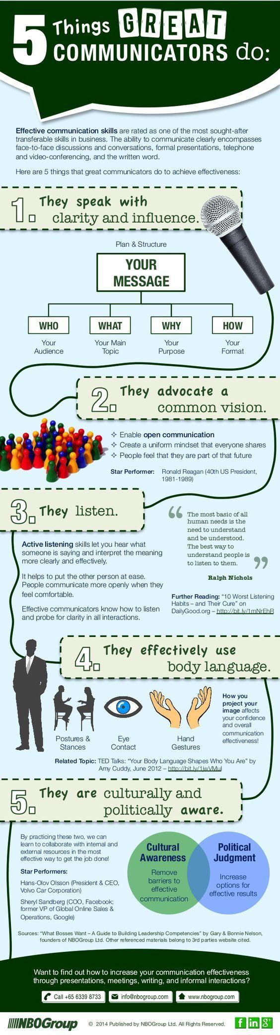 5 cosas que un gran comunicador hace #infografia #infographic #marketing