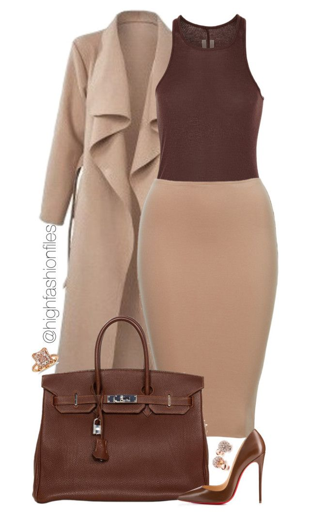 """""""Untitled #2180"""" by highfashionfiles ❤ liked on Polyvore featuring Rick Owens, Hermès, Christian Louboutin, Blue Nile and GUESS"""