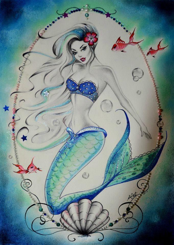 mermaid pinup tattoo - Google Search