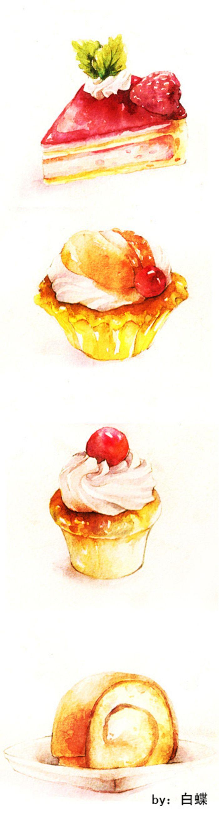来吃蛋糕-白蝶 #水彩# #手绘# #美食# #甜点#by白蝶