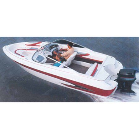Carver Styled-To-Fit Boat Cover for V-Hull Runabout Boats (Including Euro-Style) with Windshield and Hand or Bow Rails, Gray