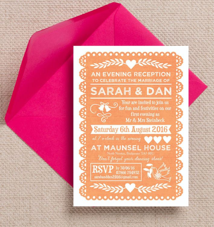 how to word evening wedding reception invitations%0A Papel Picado Evening Reception Invitation
