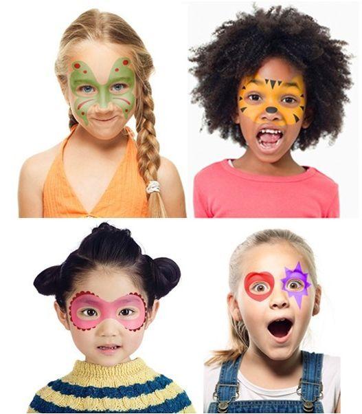 Pochoirs visage, petite fille, masque, mardi-gras, déguisement, maquillage, création, carnaval, déguiser, La fabrique du canari