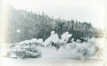 This image depicts the retirement of the last major riverboat, the D.J. Purdy 1. Here she is in 1946 being escorted to a bay near Saint John by two tugboats. There she burned in 1948.