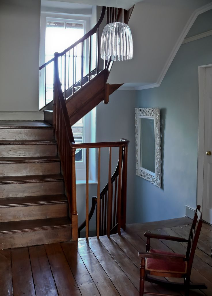 Restored old oak staircase and floor boards in Georgian House, Josephine lamp, duck egg blue wall paint harryclark colour4design