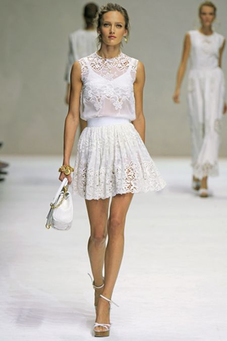 D g white lace dress top