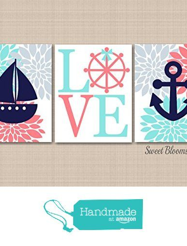 Nautical Nursery Décor,Coral Teal Nautical Wall Art,Navy Coral Aqua Gray Nursery Wall Art,Nautical Bathroom,Wall Art,Coral Gray Nutical Wall Art-UNFRAMED Set of 3 PRINTS (NOT CANVAS) c343 from Sweet Blooms Decor https://www.amazon.com/dp/B01KF9CD2I/ref=hnd_sw_r_pi_awdo_ce31yb5BY7M8Q #handmadeatamazon