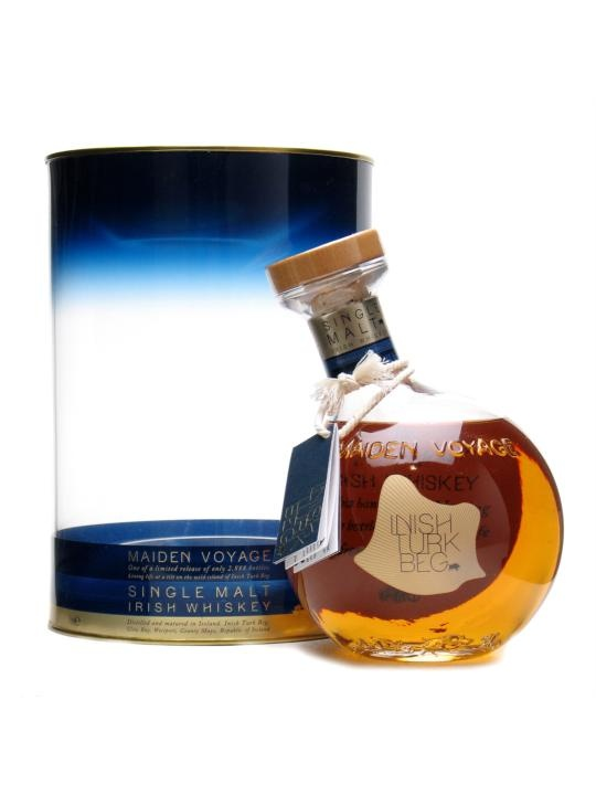 Inish Turk Beg Maiden Voyage / Irish Single Malt Whiskey : Buy Online - The Whisky Exchange - Maiden Voyage is the first bottling of Inish Turk Beg, a single malt made by Cooley for the eponymous Irish island.  Packaged in a very unusual tilting round litre bottle.