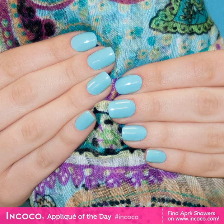 Without April showers, May flowers would never bloom! That's why it's so important to have a baby blue hue like this in our spring collection. This shade is called April Showers by Incoco! $7.99 #manicure #nails #Incoco #nailpolish #nailstrips