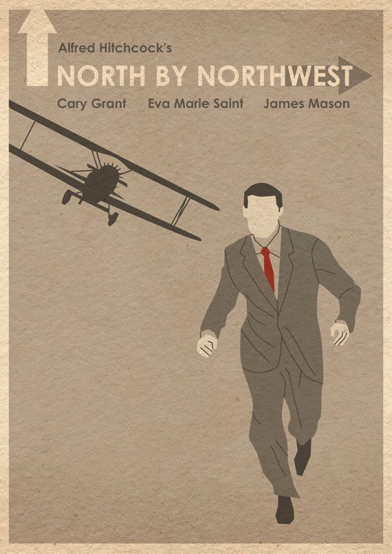 North By Northwest film poster.    This is an original print illustrated by me, the artist.    Size is approximately 16 by 12.    Print will be