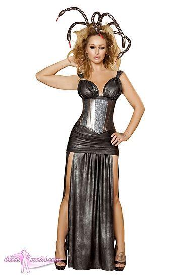 Besuche uns gern auch auf dressme24.com ;-) Schlangenkostüm Medusa - Exklusives langes Kleid in dunkelgrauem metallic mit 2 seitlichen Schlitzen. Die kumpfermetallicfarbene Unterbrustcorsage ist das I-Tüpfelchen dieses Kostüms. Inklusive Stirnband mit Schlangenverzierung. #Kostueme, #Halloween, #Hexen