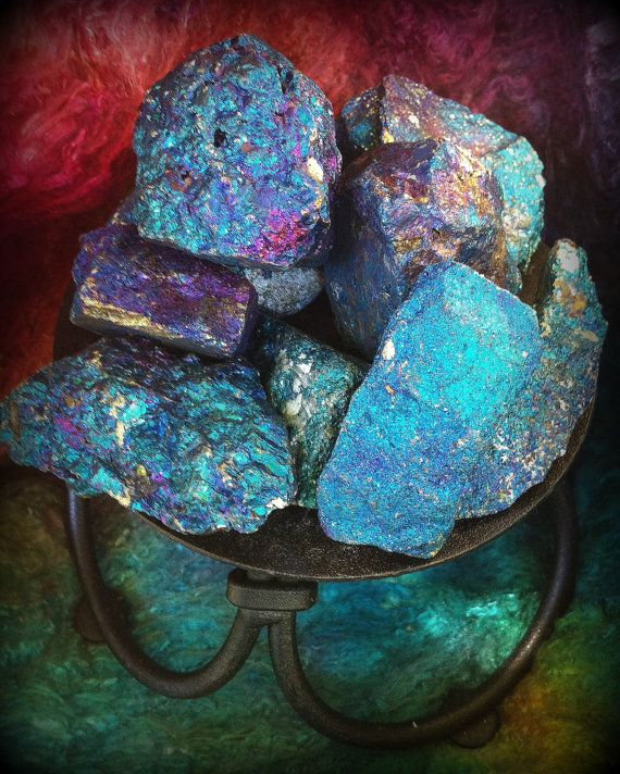 Bornite, Peacock Rock, or Peacock Ore: a happy and joyful stone, it conjures powerful positive energy, balances the chakras, and is excellent when used for healing. | #perspicacityparty #magicgeodes #magic #birds #healing #stones #crystals #bornite #peacockrock #peacockore #stone #mineral #gem #gemstones #rocks #crystals #iridescent #fluo #inspirational