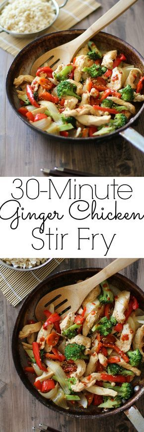 30-Minute Garlic Ginger Chicken Stir Fry - a healthy meal for any night of the week! Skip the optional Sriracha and serve over brown rice for Phase 1 (saute in broth in a nonstick pan) or quinoa for Phase 3.