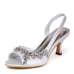 Scarpe Donna - Sandali - Matrimonio - Tacchi / Con cinghia - A stiletto - Raso / Raso elasticizzato - Avorio / Bianco / Dorato