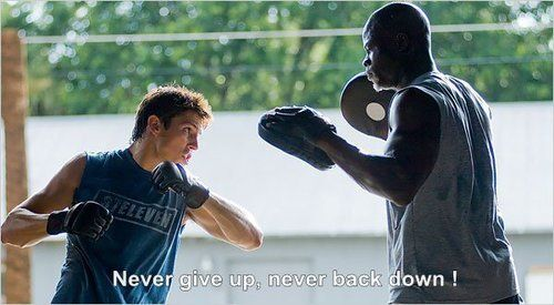 Most popular tags for this image include: never back down, movie, motivation, never give up and workout