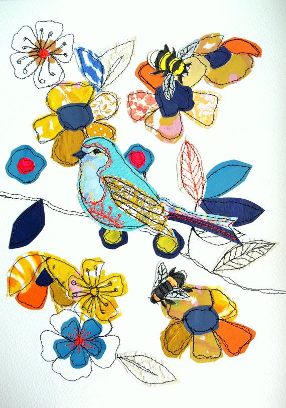 Birds & Bees stitched original art by AmandaWoodDesigns on Etsy