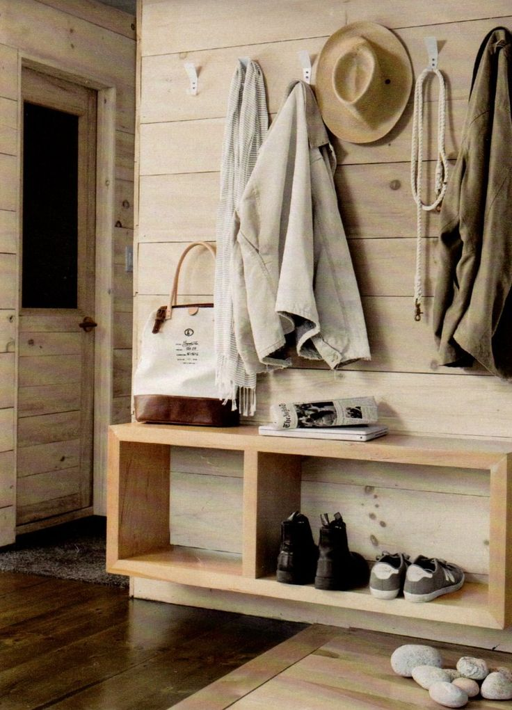 I love that attached wall bench.