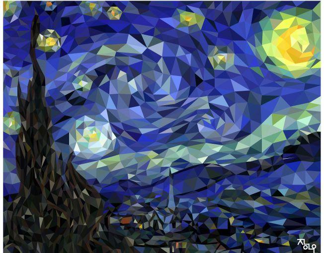 art artist ai illust illustrator polygonn polygonart lowpoly artwork vincent vangogh the starrynight 고흐 별이빛나는밤에