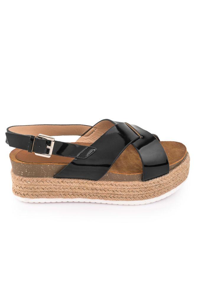 Πέδιλα Παντόφλες : FlatForm Πέδιλα με Ψάθα 1309 Μαύρο #πεδιλο παντοφλα#χιαστη #μαυρο #ψαθα #flatform #slipper #summer #fashion #for #women #olympic_stores