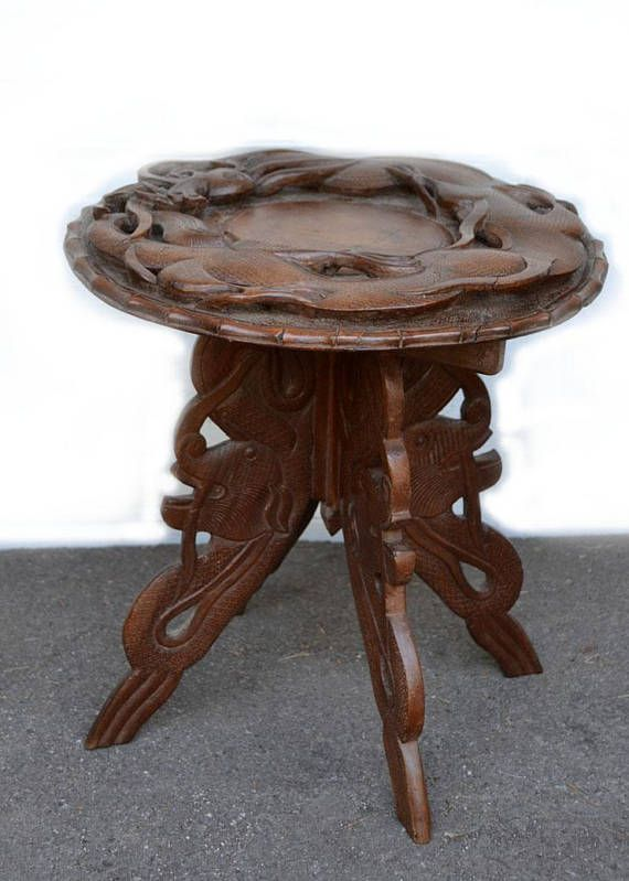 Hand Carved Table Dragon Table Boho Asian Side Table Carved Table Dragon Table Asian Decor Bathroom