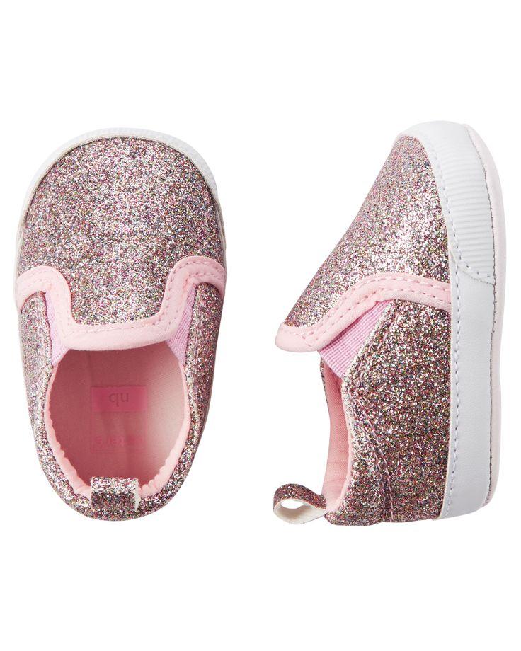 Baby Girl Carter's Glitter Slip-On Crib Shoes | Carters.com