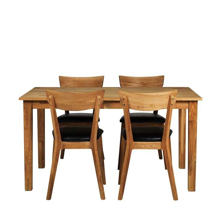 4 Stühle Und Esstisch Aus Eiche Massivholz Kunstleder Schwarz (5 Teilig)  Jetzt Bestellen Unter: Https://moebel.ladendirekt.de/kueche Und Esszimmer/tische/  ...
