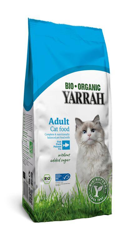 Yarrah droog kattenvoer met vis is geschikt voor alle katten, met uitzondering van de hele kleine kittens. De combinatie van kip (25%), vis (4%) en granen zorgen ervoor dat Yarrah kattenvoer droog met vis goed verteerbaar is en kan de kans op allergieën en maag- en darmproblemen verminderen. Beschikbaar in 800gr, 3kg en 10kg zak.