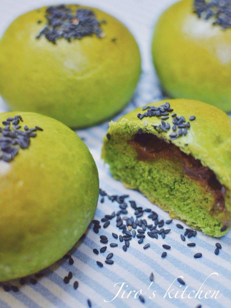 Matcha Chocolate Milk Buns #matcha #greentea #chocolate #buns #milk #bread
