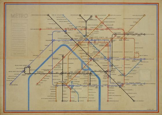 Paris Metro Map by Harry Beck 1951